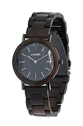 LAiMER Damen-Armbanduhr LILLY Mod. 0071 aus Sandelholz - Analoge Quarzuhr mit strukturiertem schwarzen Marmor-Zifferblatt, Edelstahlgehäuse und Holzarmband