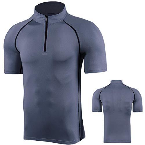 Compressione per Uomo Quick Dry T Shirt,Abbigliamento POR elastico attillato ad asciugatura rapida,colletto rialzato mezza zip abbigliamento fitness-grigio_L,Maglia Sportiva Fitness Palestra Uomo