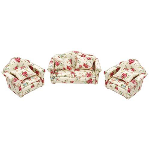 Healifty Muebles de casa de muñecas sofá en Miniatura Muebles de sillón para casa de muñecas Sala de Estar bebé Juguete (patrón Rosa)