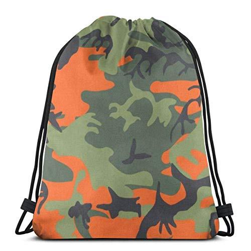 Lsjuee Shoulder Drawstring Bag Orange Green Black Hunting Camo Camouflage Backpack Sport Bag String Bags School Rucksack Gym Lightweight
