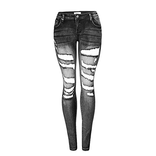 JCNHXD Lady Jeans Ajustados de Cintura Baja Mujeres Tallas Grandes Jeans Rasgados Negros Mujer...