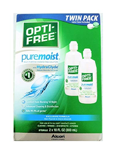 Opti-Free Puremoist Multi-Purpose Disinfecting Solution, Twin Pack, 10 Ounces Per Bottle