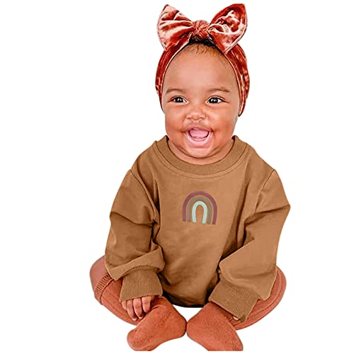 IFOTIME Baby Girls Boys Fall Sweatshirt Solid Color Romper Pullover Long Sleeve Shirts Brown