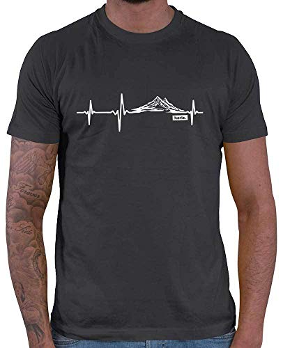 HARIZ Herren T-Shirt Herzschlag Berge Wandern Klettern Inkl. Geschenk Karte Dunkel Grau S