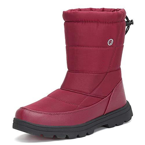 Mishansha Schneestiefel Damen Winterstiefel rutschfeste Winter Frauen Boots Warm Gefütterte Stiefel Winter Schnürstiefel Kälteschutz, Rot 39
