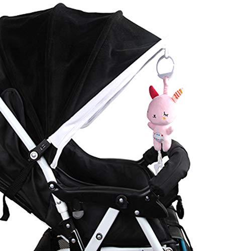 DERCLIVE Juguetes de Sonajeros Colgantes de Peluche de Dibujos Animados de Animales Cuna de Cochecito Juguetes Musicales para Bebés Recién Nacidos de 0-12 Meses Conejo