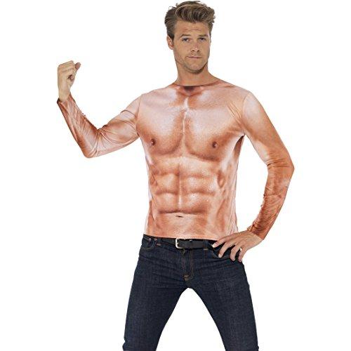 NET TOYS Adonis Körper Sixpack Muskel Kostüm M 48/50 Sportler Muskelkostüm Muskelshirt Herren Muskelattrappe Oberteil Shirt Durchtrainierter Oberkörper Faschingskostüm Männer