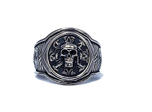 Pirate Ship Ring, Pirate Skull Ring, Pirate Ring, Skull Ring Steampunk 925 Sterling Silver All Size Style Heavy Biker Harley Rocker Men's Jewelry