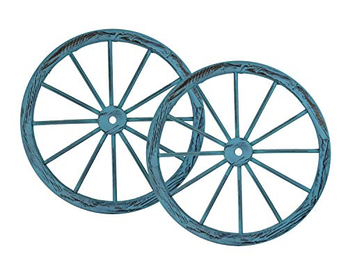 PierSurplus 30 in Wooden Wagon Wheels - Decorative Wall Decor, Set of Two-Blue Product SKU: PL50028