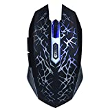 Wireless Mouse, 4.2V Colorful LED Ergonomic USB Gaming Mice Glare Design Rechargeable Intelligent Mobile Mouse with 6 Buttons, Supports LED Off, for Notebook, Laptop, Desktop