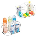 mDesign 2er-Set Aufbewahrungsbox Kinderzimmer mit 4 Fächern z. B. zur Babynahrung Aufbewahrung – Ordnungssystem aus Kunststoff für Babyzubehör & Co. – mit Griff zum Transportieren – durchsichtig