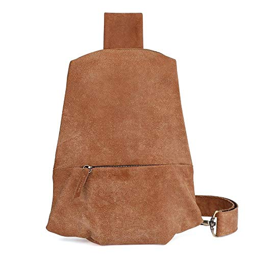 Vintage Bag Men Genuine Leather Shoulder Bag Sport Chest Pack USB Charging Cross Body Breast Bag Crossbody Bag (Color : Brown, Size : S)