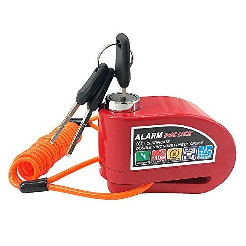 Candado para disco de freno con alarma para motocicleta, bicicleta, scooter, 110 dB, 6 mm de diámetro, pin, modo de alarma mecánica y de moto, color rojo