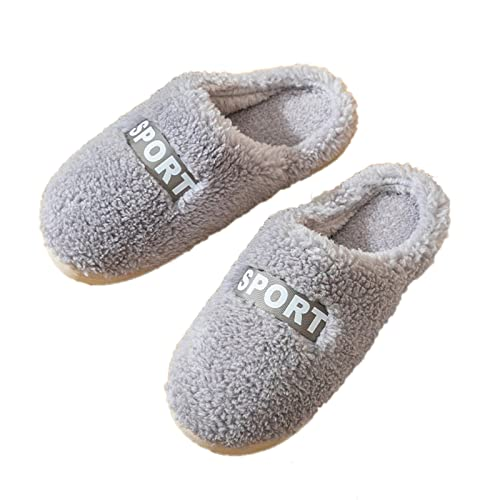 Zapatillas de estar por casa para mujer y hombre, zapatillas de invierno de felpa, zapatillas planas, antideslizantes, para interior y exterior, gris, 39 EU