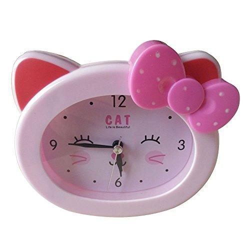 S.W.H Schöne Cartoon Katze Snooze Wecker Nachttischuhr Fit Jungen Mädchen Heavy Sleepers (Rose)