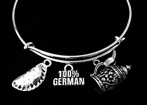 Germany Beer Stein Pierogi 100% German Jewelry Adjustable Silver Charm Bracelet Expandable Wire Bangle Gift Trendy One Size Fits All