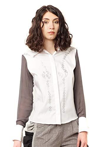 Morgan Visioli Fashion MVPRIVE Damenbluse aus weißer Seide, Logo, Weiß X-Large