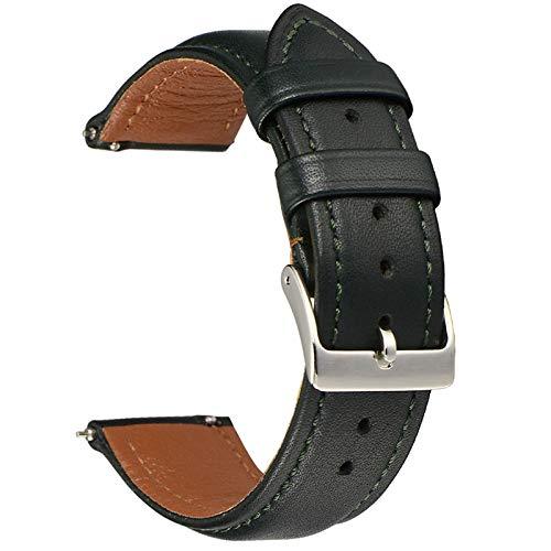 EACHE Snabbfrigörande läderarmband för män kvinnor, fullkorn Italien läder klockarmband fler färger och storlekar, full vändkant hållbara läderremmar 20mm Mörkgrön