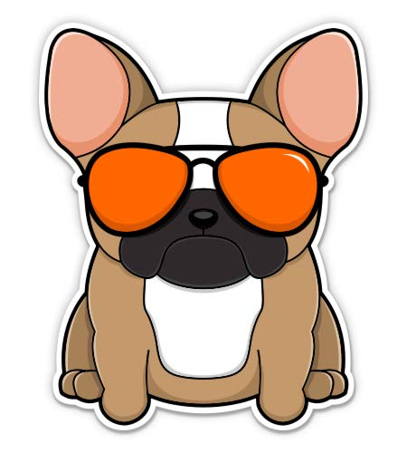 Cute French Bulldog in Glasses - 3' Vinyl Sticker - for Car Laptop Water Bottle Phone - Waterproof Decal