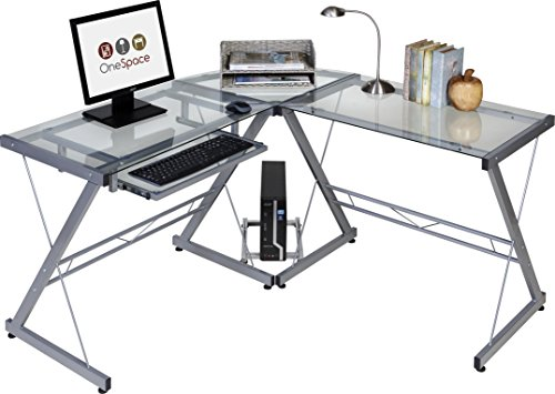 OneSpace Ultramodern Glass L-Shape Desk, Silver and Clear
