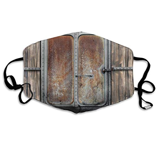 Wooden Tree Planks met Old en Rusty Two Angled Boat Deur Image Art Print Printing Mouth Cover voor volwassenen