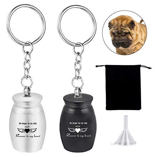 Urnas para mascotas para perros, gatos, cenizas, pequeñas urnas de recuerdo, pequeñas urnas de cremación, llavero, llavero elástico, cadenas, llavero fuerte, llavero elástico para memoriales de perros