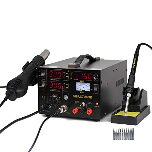 MMOBIEL YiHua 853D Soldering Iron Station Hot Air Gun 750 W 3 in 1 SMD Rework Solder soldering Station