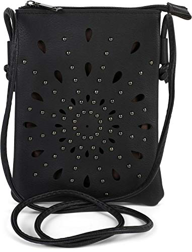 styleBREAKER Dames Mini-Tas Schoudertas met uitsparingen in etnobloemvorm en studs, schoudertas, handtas, tas 02012304, Farbe:Zwart