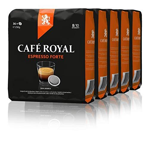 Café Royal Espresso Forte 180 Dosettes de Café compatibles pour Senseo, intensité 8/10, pack de 5 (5 x 36 dosettes de café)