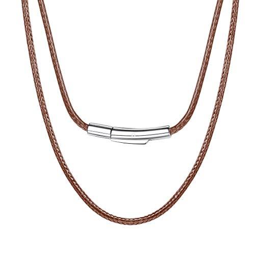 ChainsPro Collares Cordones Carmelita 41cm para Mujeres 2MM Collar Flexible Cuero Trenzado Cuerdas Cadena de Cera SOGA para Colgantes