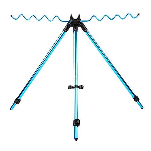 SODIAL Support De Trépied De Canne à Pêche Réglable Télescopique Portatif Support De Tige De Canne à Pêche en Alliage D'Aluminium Bleu