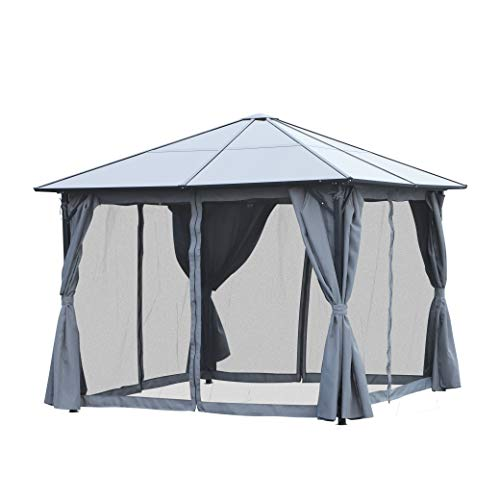 Outsunny 3 x 3 Meter Garden Aluminium Gazebo Hardtop Roof Canopy Marquee Party Tent Patio Outdoor Shelter with Mesh Curtains & Side Walls - Grey