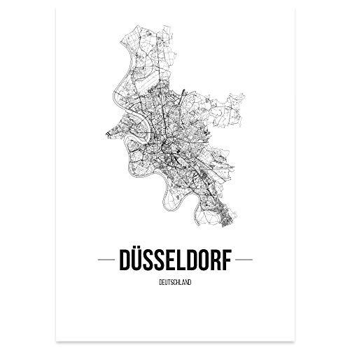 JUNIWORDS Stadtposter - Wähle Deine Stadt - Düsseldorf - 30 x 40 cm Poster - Schrift B - Weiß