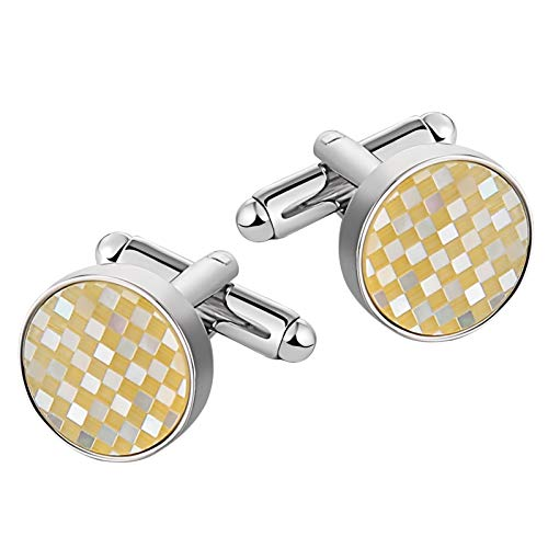 Ubestlove Gifts for Him Xmas Circle Shirt Cufflinks Stainless Steel Dad Gifts Christmas Beige