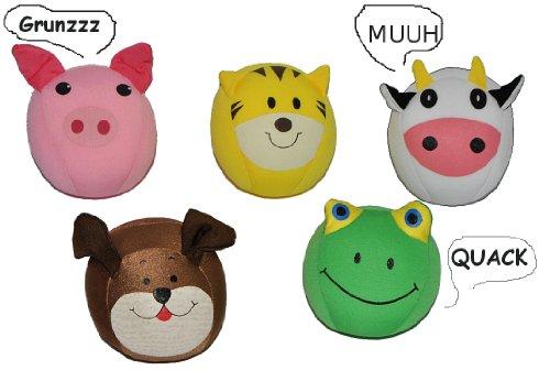 alles-meine.de GmbH 3 STK. Spandex Knautschkissen mit Sound ! -  Tier  - Ball 11 cm - mit Mikroperlen - Plüschtier Tiere Kuschel Kissen Spandex Knautsch Knautschball Stressball..