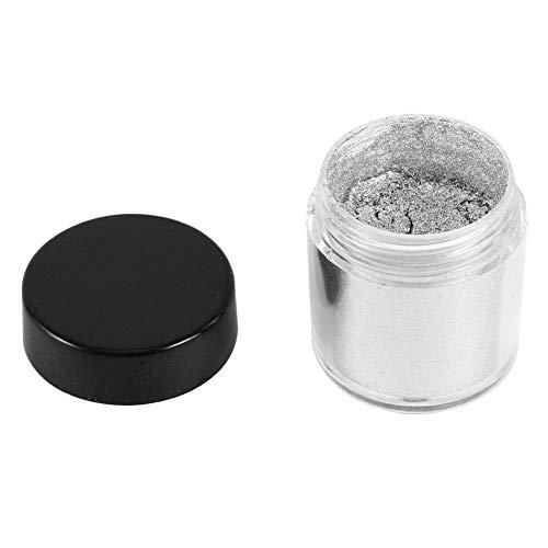 Nail Art Powder Glitter Brillante Metal Polvo Mágico Espejo Pigmento Manicura Decoración con Cepillo Oro Plata 15g(Silver)