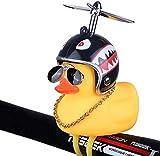 Volwco - Timbre de Bicicleta de Pato, de Goma, Color Amarillo, con luz LED, Manillar de Bicicleta, bocinas para niños, niños, Adultos, Deportes al Aire Libre, Shark Helmet