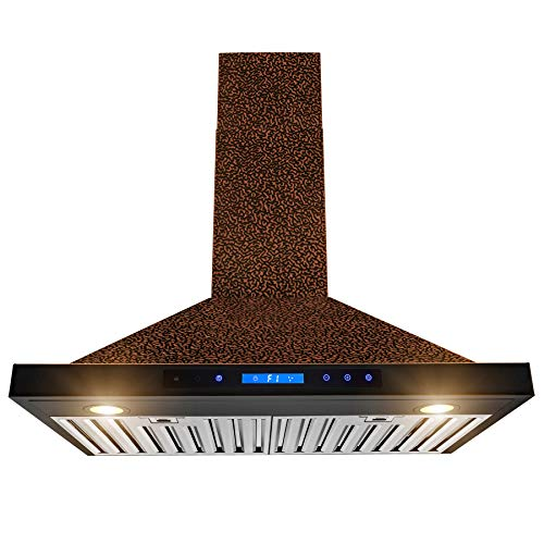 AKDY Wall Mount Range Hood -30' Embossed Copper Hood Fan for Kitchen - 4-Speed - Remote Control - Professional Quiet Motor - Touch Control Panel - Modern Design - Dishwasher-Safe Baffle Filters