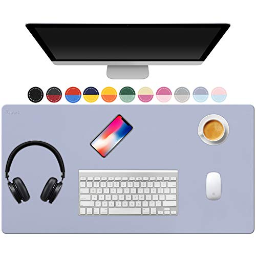TOWWI Dual Sided Desk Pad, 36' x 17' PU Leather Desk Mat, Waterproof Desk Blotter Protector Mouse Pad (Purple/Blue)
