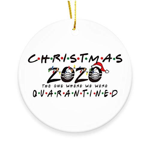 GOCOLER Ceramic Double-Sided Design 2020 Christmas Tree Ornaments Quarantine Gift   Crazy 2020 Keepsake   Social Distancing Funny Novelty   Ceramic Holiday Decor (Christmas 2020)