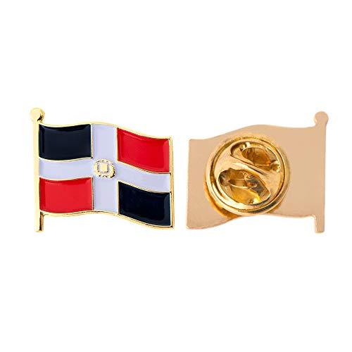 Dominikanische Republik Land Flagge Anstecknadel Emaille aus Metall Souvenir Hat Herren Frauen Patriotische (Waving Flag Revers PIN)
