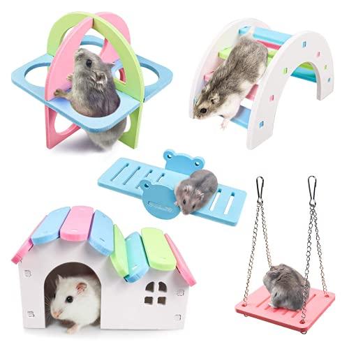 Joody - Juego de 5 juguetes de ejercicio para pequeños animales para hámster, ratón, gerbilla, chinchilla, accesorios de hábitat con juguetes deportivos para escalar, puente, columpio, columpio y casa