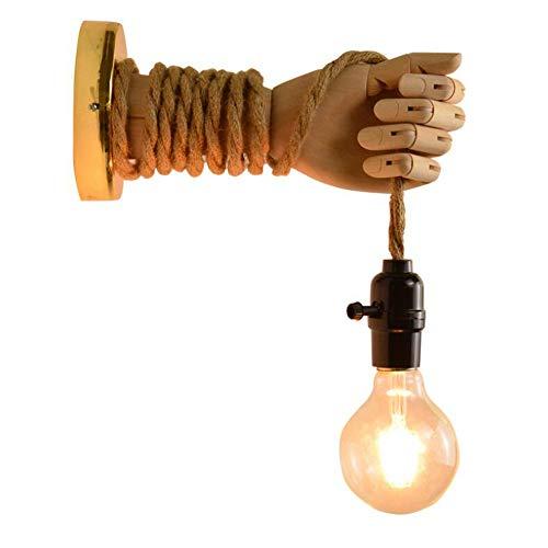 Oujie Wooden wandlamp, E27 handgeweven henneptouw Nordic Lighting, geschikt voor balkon, gang, trap, wandlamp