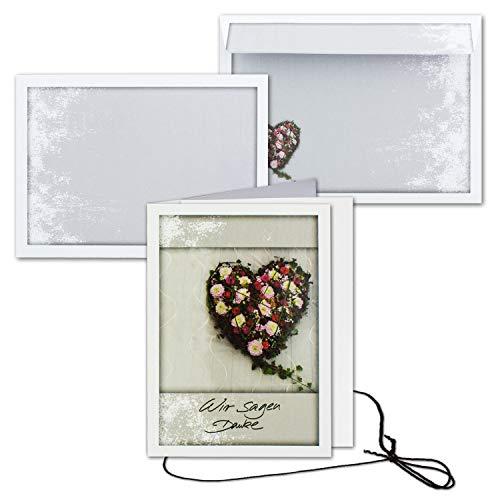 15x Trauerkarte mit Umschlag Set Danksagung - Herz- DIN A6 Hoch-Format - Danksagungskarten Trauerkarten nach Beerdigung - Trauer-Papiere by Gustav NEUSER