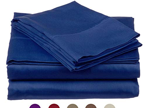 High Strength Natural Bamboo Fiber Yarns Egyptian Comfort 1800 Thread Count 4 Piece Full Size Sheet Set, Blue Color