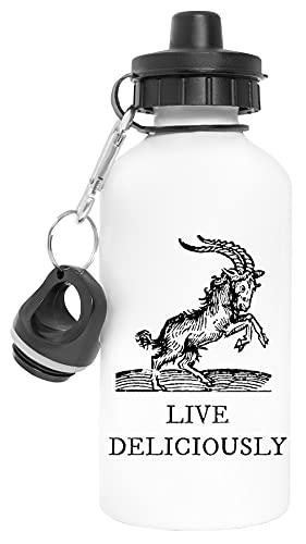 Goat Live Deliciously Aluminio Reutilizable Deporte Viaje Botella de Agua Blanco Aluminium Reusable Sport Travel Water Bottle White