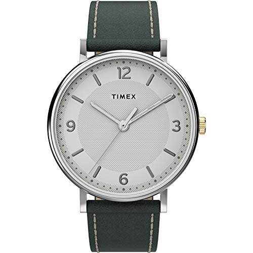 Timex Men's Southview 41mm Watch – Silver-Tone Case White Dial with Gray Leather Strap