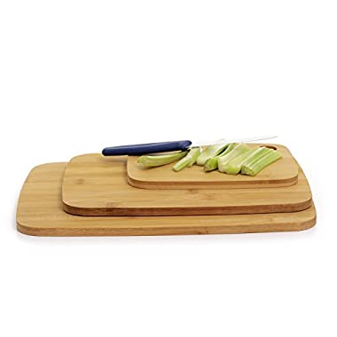 Zanzer Premium Bamboo Cutting Board - 3 Piece Eco-friendly Durable, Thick, Made of Natural Bamboo and 100% Organic | Best for Heavy Duty Chopping, Cutting, Mincing, Food Prep, Meat, Vegetables, Bread