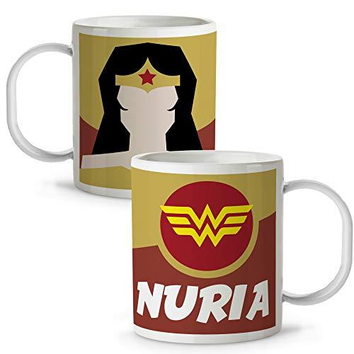 Taza Superhéroes Personalizada con Nombre | Plástico | Vuelta al Cole | Varios Diseños y Colores Interior | Mujer Maravilla
