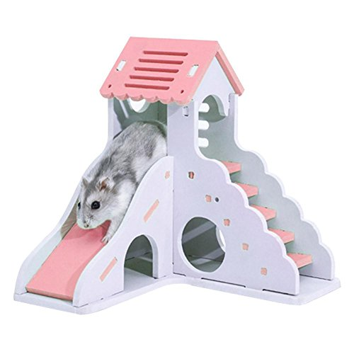 Seasons Shop Hamster Nest Spielzeug Hamster Haus Mit Treppen Und Rutsche Umweltschutz Wasserdicht Hamster Klettern Leiter Hamster Versteck Für Hamster Maus Meerschweinchen Igel, Rosa/Grün good-looking